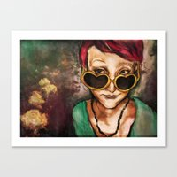 olivia joy Canvas Prints featuring Olivia by Hilary Dow