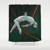 edm Shower Curtains featuring Dividendo Digital by Obvious Warrior