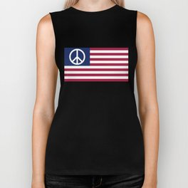 Peace and Love USA Flag Biker Tank