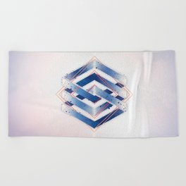 Indigo Hexagon :: Floating Geometry Beach Towel