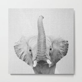 Elephant 2 - Black & White Metal Print