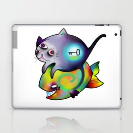 cat,fish and riddle Laptop & iPad Skin