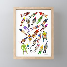 Superhero Butts with Villians - Light Pattern Framed Mini Art Print