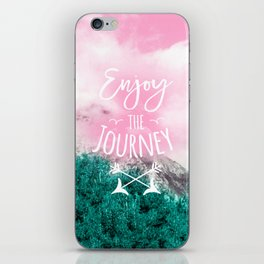 Modern white typography enjoy the journey pink turquoise clouds forest mountain photography iPhone Skin