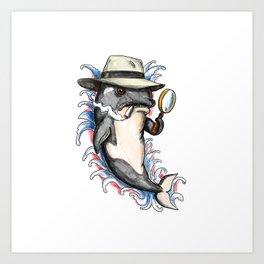 Orca Killer Whale Detective Tattoo Art Print