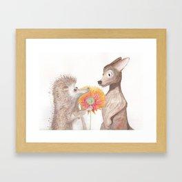 Hedgehog & Chihuahua Drawing Framed Art Print