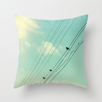 three of the possessed Throw Pillows featuring Three by DejaReve
