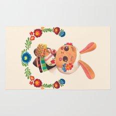 The Cute Bunny in Polish Costume Rug