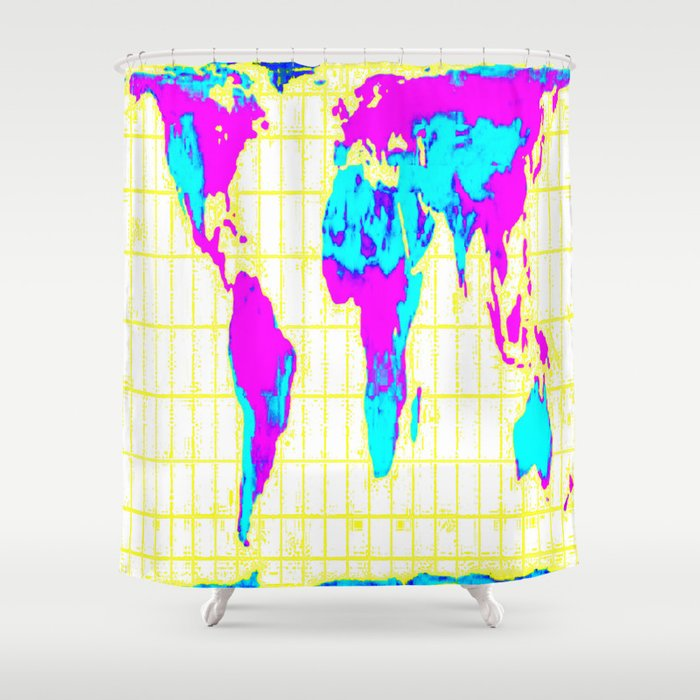 world map gall peters colorful shower curtain - Colorful Shower Curtains