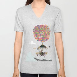 Riding A Bicycle Through The Mountains Unisex V-Neck