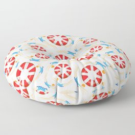 Summer Swimmers in Blue on Yellow | Floats | Life Savers | pulps of wood Floor Pillow