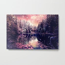 A Cold Winter's Night : Mauve Pink Winter Wonderland Metal Print