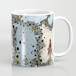 flying rockets in space and planets Coffee Mug
