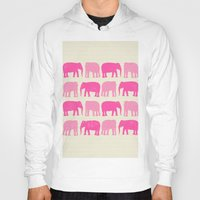 nursery Hoodies featuring Pink Elephant Nursery Print by OldRedCanoe