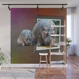 Hippos get out of the frame Wall Mural