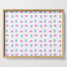 square and tartan 69- blue and pink Serving Tray