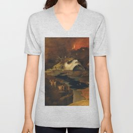Descent Into Hell, Right Side, By Follower Of Hieronymus Bosch, Circa 1550 Unisex V-Neck
