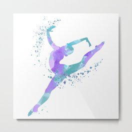 Girl Gymnastics Colorful Watercolor Silhouette Metal Print