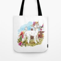 poodle Tote Bags featuring Poodle by Renee Kurilla