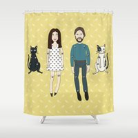 family Shower Curtains featuring Family by Marta Li