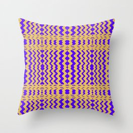 Bright Purple Yellow Wavy Lines Throw Pillow