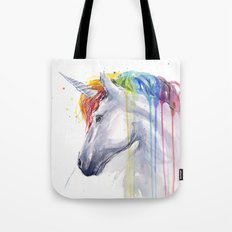 Rainbow Unicorn Watercolor Animal Magical Whimsical Animals Tote Bag