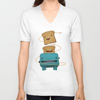good morning V-neck T-shirts featuring Good Morning by mrbiscuit