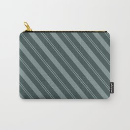 Scarborough Green PPG1145-5 Thick and Thin Angled Stripes on Night Watch PPG1145-7 Carry-All Pouch