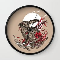 hare Wall Clocks featuring Hare by Rachael Smart