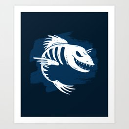 Fish Skeleton Art Ocean Sea Life Marine Design In Blue Art Print