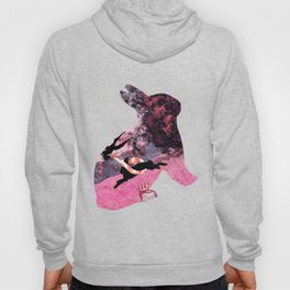 Pink Whimsical cute rabbit, bird vector on field collage Hoody
