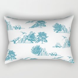 Blue Dinosaur and Pyramids Rectangular Pillow