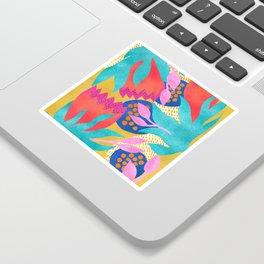 Bold Flower Pattern Yellow Background Sticker
