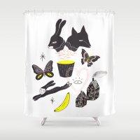 et Shower Curtains featuring Le Lièvre et le Renard by Estée Preda