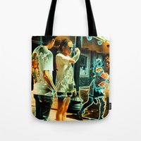 lindsay lohan Tote Bags featuring Song For Lindsay Tee! by Eric Terino