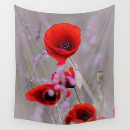 poppies in the fog Wall Tapestry
