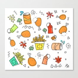 Fast Food Pattern Canvas Print