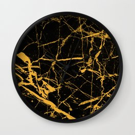 Orange Marble - Abstract, textured, marble pattern Wall Clock