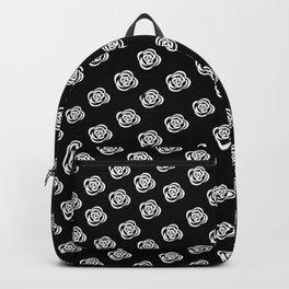 White Rose, Black Background Backpack