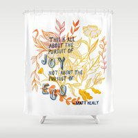 1975 Shower Curtains featuring The Pursuit of Joy by Mei Lee