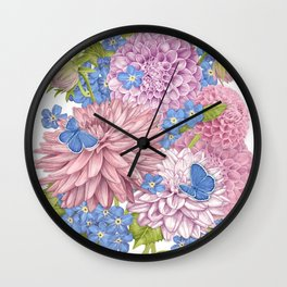 Dahlias and Forget Me Nots Wall Clock
