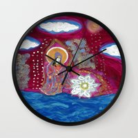 budi satria kwan Wall Clocks featuring Offerings-Kwan Yin by J. Lashua Art