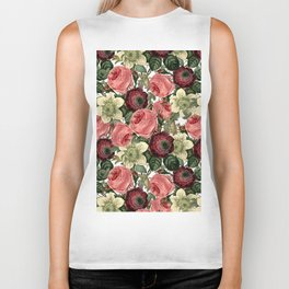 Vintage & Shabby Chic - Pink and Red Roses Retro Pattern Biker Tank