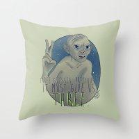 the hobbit Throw Pillows featuring THREE!! - Hobbit by KanaHyde