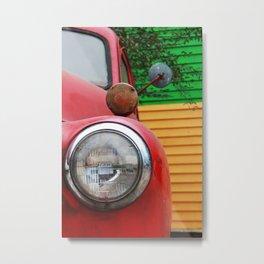 Red Truck Headlight Metal Print