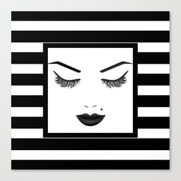 Black Lips Beauty Face Stripes Canvas Print