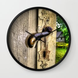 Old doors in farmhouse Wall Clock