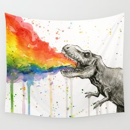 T-Rex Rainbow Puke Wall Tapestry