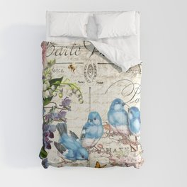 Vintage Postcard with Bluebirds Comforters