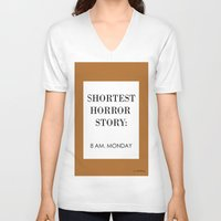 horror V-neck T-shirts featuring Horror by MrWhite